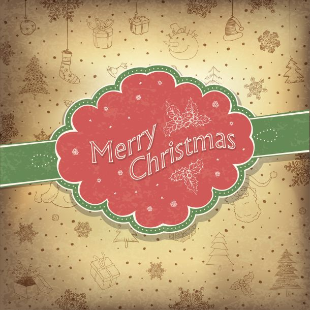 Merry Christmas vintage background. Vector illustration, EPS10.